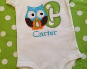 First initial owl bodysuit for baby boy