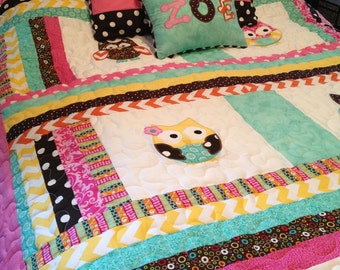 Chevron twin size owl quilt with matching pillow sham and personalized pillow