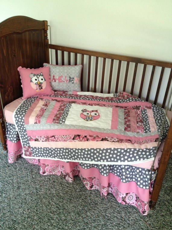 Baby Owl Bedroom Set: Items Similar To Grey, Pink, And Mauve Baby Girl Owl Crib