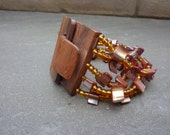 bracelet of  wood and glass pearls, women's accessories, jewelry