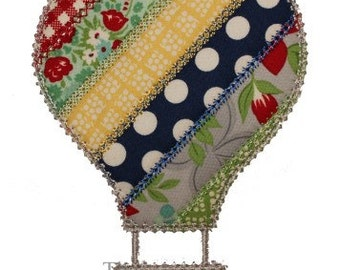 Spring Summer Shabby Patchwork Hot Air Balloon Digital Embroidery Design Machine Applique