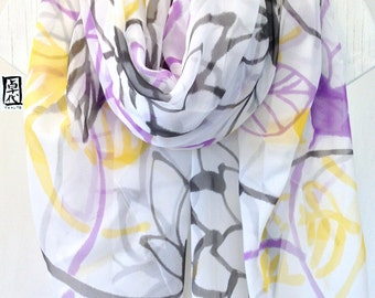 Hand Painted White Silk Shawl Scarf with Purple, Black Yellow Japanese Floral. White Silk Scarf, Silk Chiffon. Large Silk Scarf. 43x72  in.