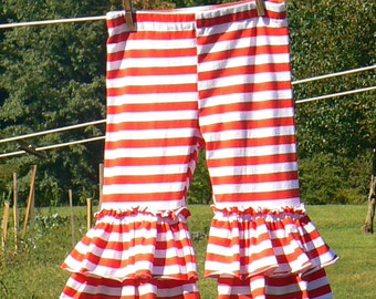 Red and White Candy Stripe Knit DOUBLE Ruffle Pants...girls size 12 month to size 10