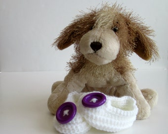 Crochet Baby Booties - White with Bright Purple Buttons - Newborn to 3 Months
