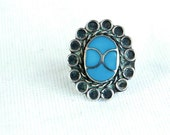 Boho Turquoise Ring Faux Turquoise Vintage Mexican Bohemian Jewelry Size 5.5 Hippie SALE Under 15
