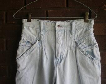 Vintage 80s High Waist Jeans Pleat Jeans Acid Wash Denim Jeans Skinny  Baggy Harem fit / Floral DESTRUCTED / Stephano / Waist 26 /  XXS XS