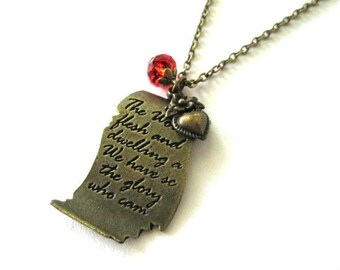Love letter necklace red crystal jewelry antique brass bronze heart charm necklace victorian vintage style jewelry long chain necklace