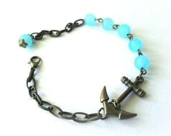 Blue jade with anchor bracelet nautical jewelry antique brass bronze - Blue stone bracelet