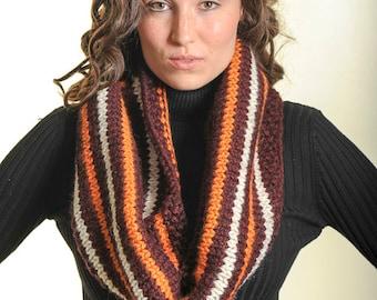 Closout Sale!! Handknit Beautiful Tribal Stripe Scarf, Blanket scarf, Red Orange Beige Scarf, Knit chunky scarf