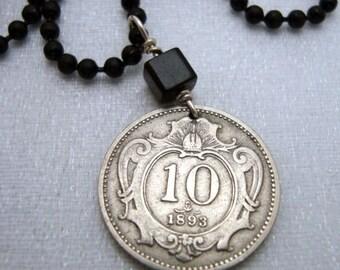 Austria coin necklace - double headed eagle - Austrian art nouveau necklace - over 100 years old - Eagle necklace - 10 - 10th - Eagle