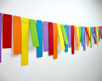 Rainbows Fringe 6ft. Garland: Rainbow Birthday Party, 1st Birthday Boy, Painting Party, Noah's Ark Party, Photo Backdrop, Carnival Decor