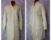 Vintage 1960's 70's  Lemon Yellow Eyelet Cotton Dress M/L