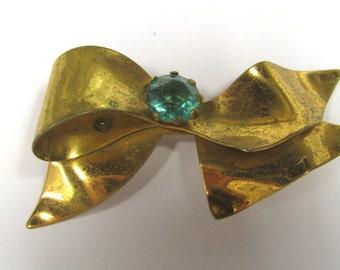 Vintage Brass Bow Green Rhinestone Brooch, Antique Bow Rhinestone Brooch