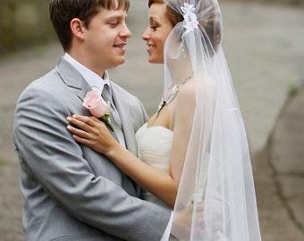 Art Deco Cap Veil, Great Gatsby Veil, Ivory Lace Cap Veil, Vintage Veil, 1920 wedding veil, Tulle Veil, Juliet Veil, The JESSICA design