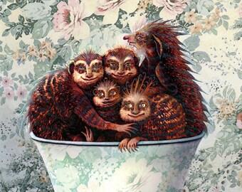 Monster - 5 Monsters in a Teacup - Children's Wall Art - Kids Room - Monster Art - Nursery - Monster Print - Cute Monster