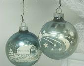 Vintage MERCURY GLASS ORNAMENTS Pale Teal Stencil Christmas Tree Set/2