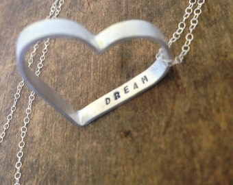 Customized Silver Heart Necklace, Personalized Name or Initial, Love Gift for Her,  Engraved Statement Necklace, Mother and Kids