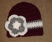 Baby Girl Maroon and White with Gray Crochet Double Flower Hat/Beanie ... Baby Aggie, Baby Bulldog, Texas A&M, TAMU, Mississippi State