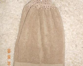 Hanging Kitchen - Beige - Tan - Crochet Top - Towel - Double Towel - Reversible