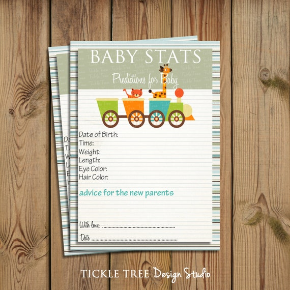 printable baby shower game baby statistics baby prediction cards