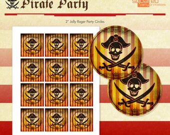 Pirate Cupcake Toppers - Printable Pirate Party - Jolly Roger Party Circles - DIY Print - Instant Download