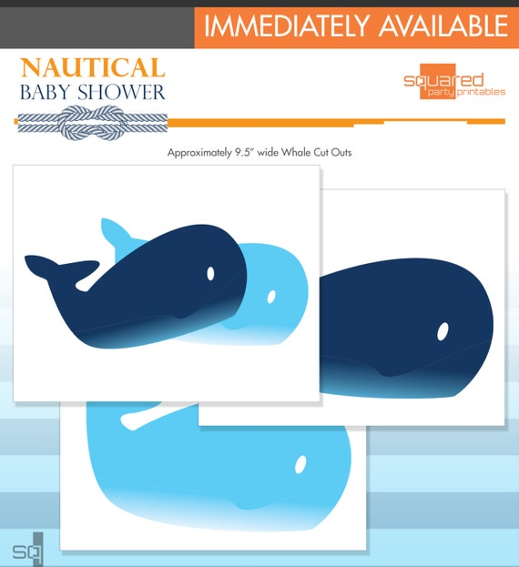 Nautical Baby Shower - Baby Whale Cut Outs - DIY Print - Do-It-Yourself - Instant Download