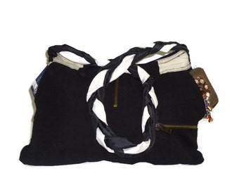 Black Fabric upcycled Bag.The Big Black Bag with braid  long strap.