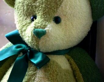 Handmade OOAK artist patch work green teddy bear personalized