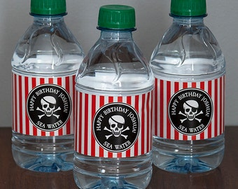 Pirate Party Water Bottle Labels - Black, Red & White - PERSONALIZED - Printable