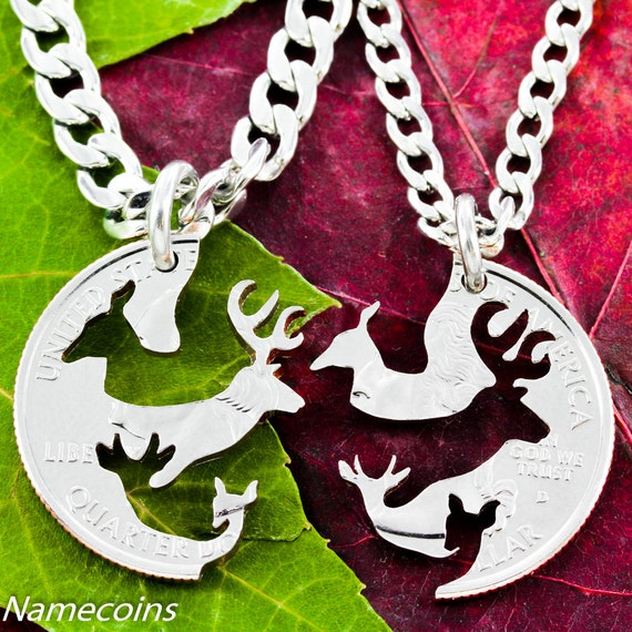 buck and doe family necklace deer with children by namecoins