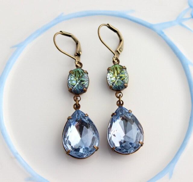 blue ice earrings blue earrings blue and peridot earring