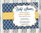 Gender Neutral Baby Shower Invitation with quatrefoil  boy Baby Shower Invitation, navy and orange, digital, printable file (item168)