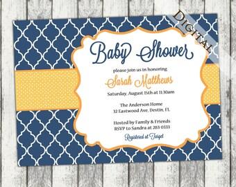 Gender Neutral Baby Shower Invitation with quatrefoil  boy Baby Shower Invitation, navy and orange, digital, printable file (item168)