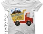 Iron on Big Brother Shirt PDF - Dump Truck Iron on Transfer / Kids Boys Clothing Tshirt / Big Brother Effective / Pregnancy Announcement -P
