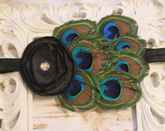 Black Peacock Baby Headband - Newborn Headband - Photo Prop - Black Flower - Feather Headband - Peacock Bow- Infant Headband - Peacock Bow