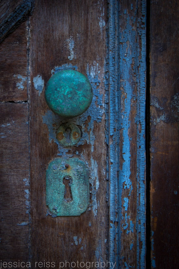 How To Change A Door Knob >> Old Rusted Teal Turquoise Baby Blue Door Knob Lock Vintage