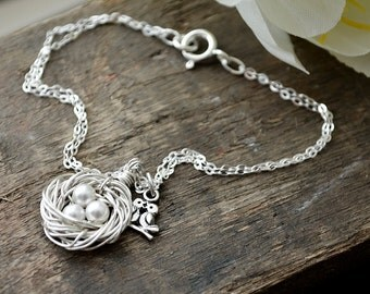 Tiny Silver Birds Nest Bracelet | Mom or Family of 3 Jewelry