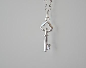 Silver Dainty Key Necklace - Skeleton Key Minimalist Jewelry