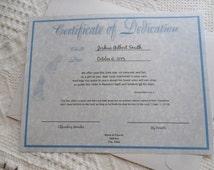 Baby Boy Dedication Certificate blue parchment - original layout & poem
