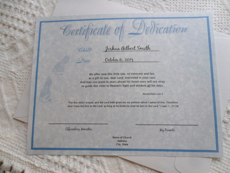 baby boy dedication certificate blue parchment original