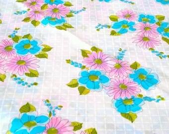 "Vintage Fabric - Daisy Print - Hot Pink & Aqua - 36""L x 44""W - 1960's - Retro - Sewing Material - Craft Supply - Yardage"