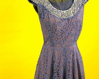 1940s Lace Evening Dress with Sequin Collar