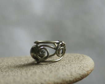 Pyrit - tiny gunmetal colored wire ear cuff with pyrit bead