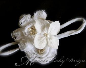 White Flower Headband / White Flower Hair Clip