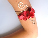 Upper arm cuff red and Silver flower or any colour flower and vine wedding prom dance pagent costumefestival jewelry