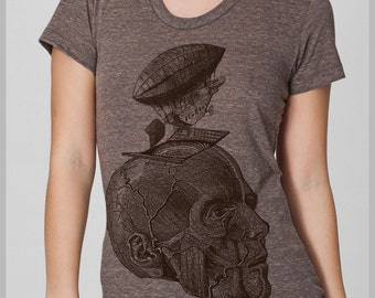 Women's T Shirt Thoughts Take Flight Balloon Zeppelin Head Skull Steampunk Science American Apparel Tee Shirt S, M. L, XL 8 Colors