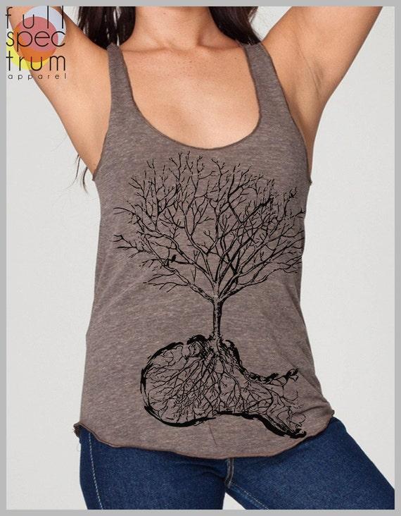 Women's Tree Roots Birds Nature Design Vintage Style Racerback Tank Top American Apparel Ladies Girls Summer fashion