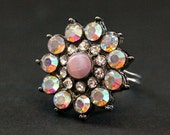 Vintage Button Ring. Pink Rhinestone Ring. Rhinestone Flower Ring. Adjustable Ring. Handmade Jewelry.