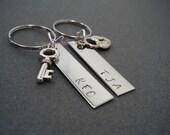 Initials Keychains, Lock Key Keychains, personalized keychains, Bar keychains, Couples Keychains,