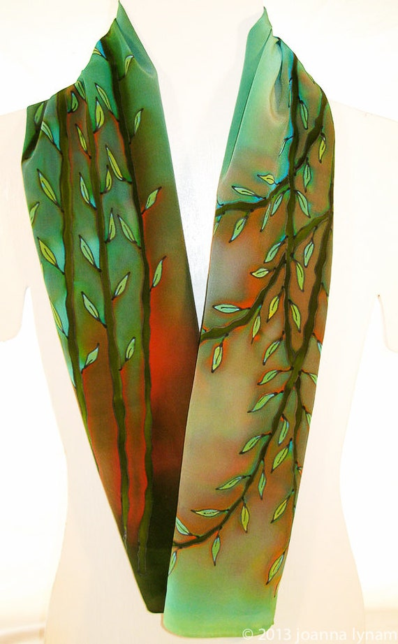 bamboo silk scarf large silk scarf handmade silk by